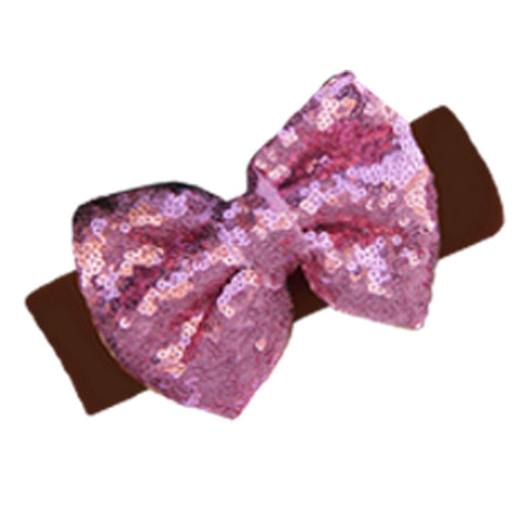Brown Pink Sequin Bow Headband
