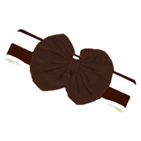 Brown Stripe Fall Girls Headband Football Messy Bow