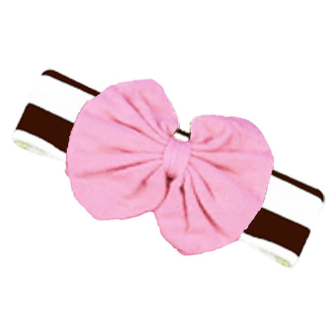 Brown Stripe Fall Girls Headband Football Pink Messy Bow