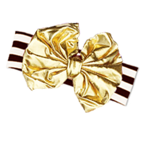 Brown Stripe Fall Girls Headband Gold Messy Bow