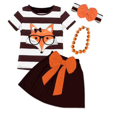 Brown Stripe Fox Glasses Bow Top And Skirt