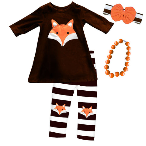 Brown Stripe Fox Top And Pants