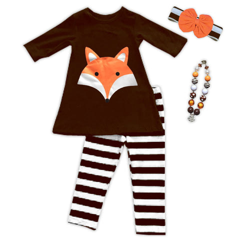 Brown Stripe Orange Fox Pant Set