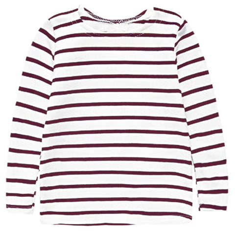 Brown Stripe Shirt White Long Sleeve