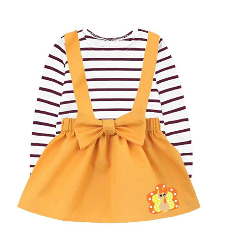 Brown Stripe Turkey Outfit Orange Top And Jumper