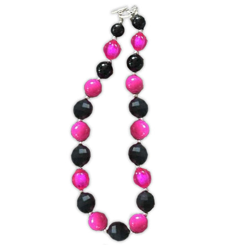 Bubblegum Pink Black Adult Necklace