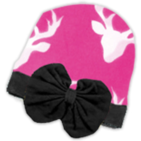 Bubblegum Pink Deer Bow Beenie Hat