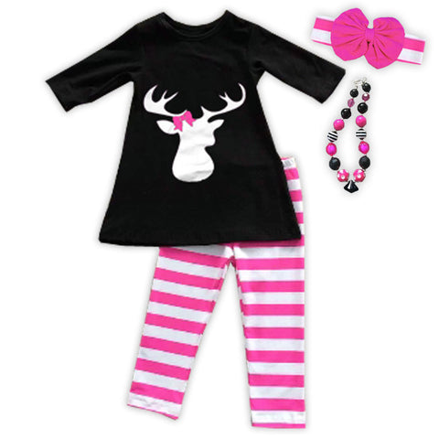 Bubblegum Pink White Stripe Deer Pant Set