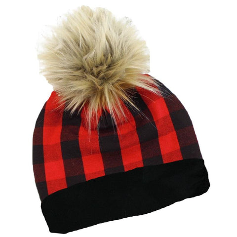 Buffalo Checkered Plaid Beenie Hat Pom