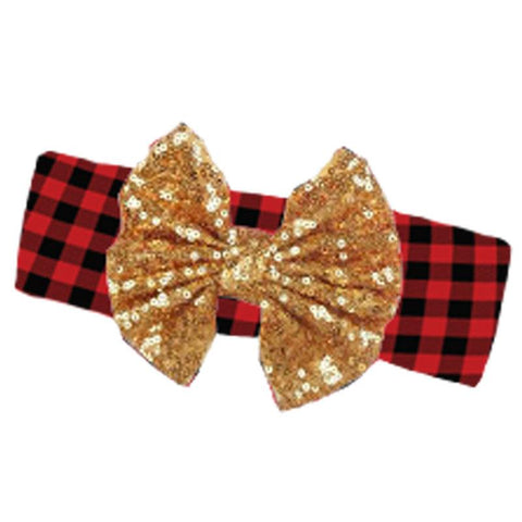 Buffalo Checkered Plaid Headband Gold Sequin Bow
