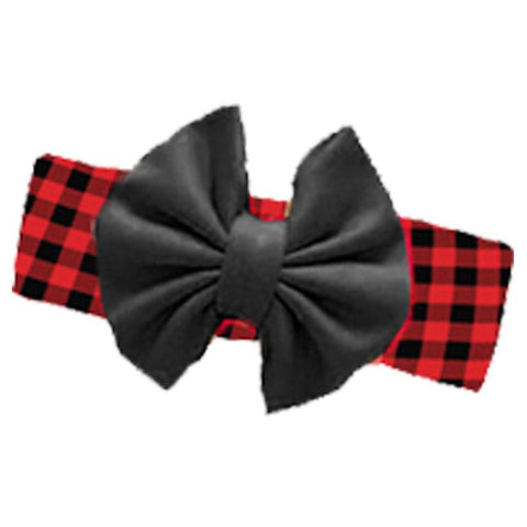 Buffalo Checkered Plaid Messy Bow Headband Black