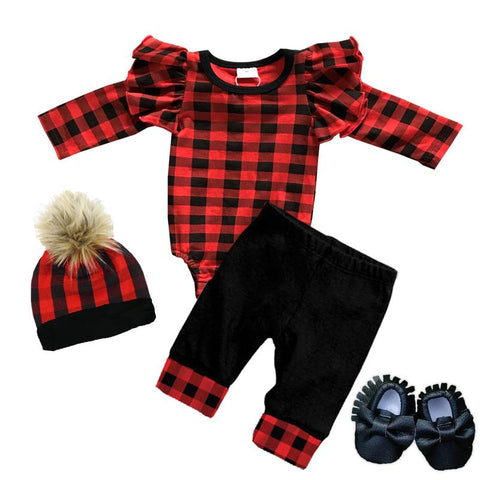 Buffalo Checkered Plaid Onesie And Pants Ruffle