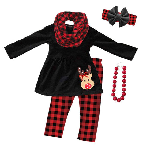 Buffalo Checkered Plaid Reindeer Outfit Black Scarf Top And Pants