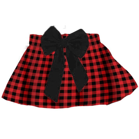Buffalo Checkered Plaid Skirt Black Bow