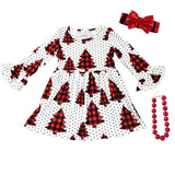 Buffalo Plaid Christmas Tree Dress White Black Polka Dot