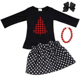 Buffalo Plaid Christmas Tree Outfit Polka Dot Top And Skirt