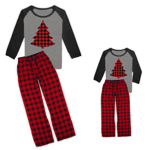 Buffalo Plaid Christmas Tree Pajamas Pants And Top Gray Raglan Matching Family