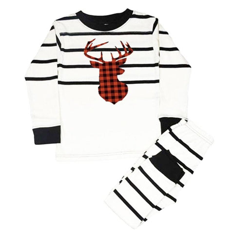 Buffalo Plaid Deer Pajamas Black Cream Stripe