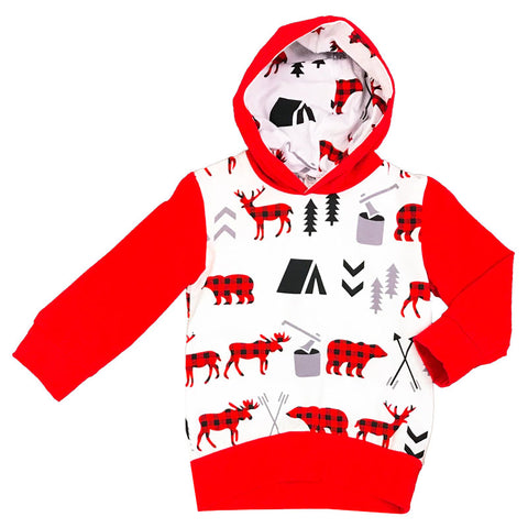 Buffalo Plaid Hoodie Raglan Deer Moose Bear