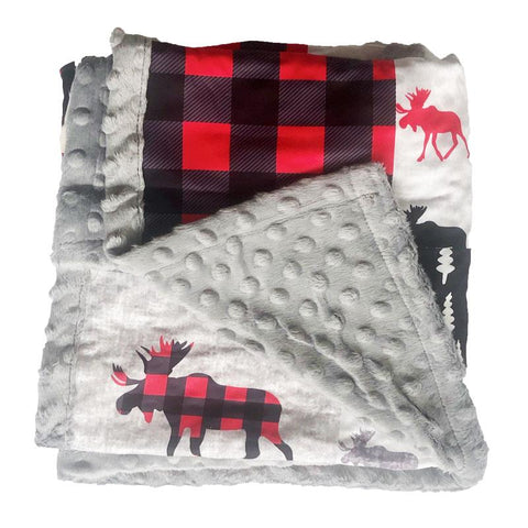 Buffalo Plaid Moose Patchwork Gray Minky Blanket