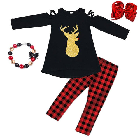 Buffalo Plaid Reindeer Outfit Black Over Shoulder Top And Pants