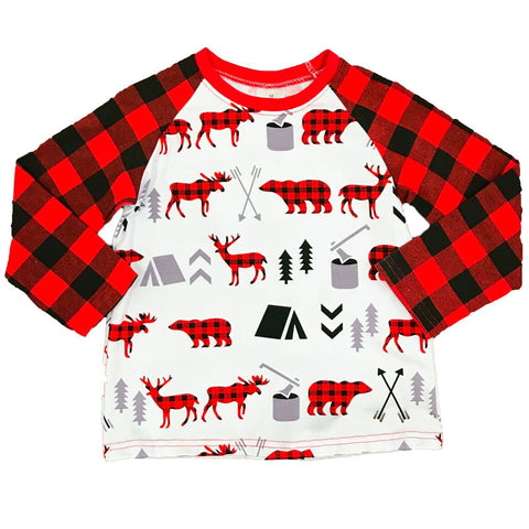 Buffalo Plaid Shirt Raglan Deer Moose Bear