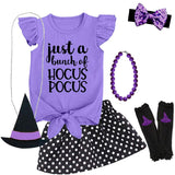Bunch Of Hocus Pocus Outfit Black Purple Polka Dot Top And Skirt