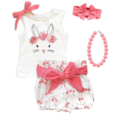 Bunny Floral Coral Pink Outfit Bow Tank And Shorts