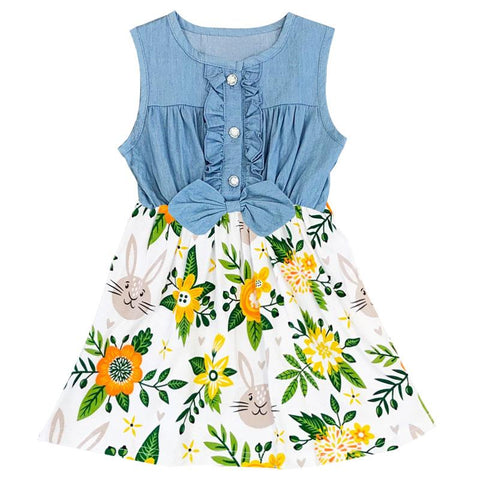 Bunny Floral Denim Dress Ruffle Bow