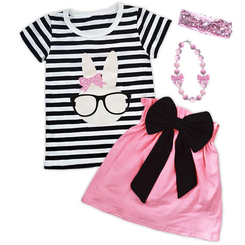 Bunny Glasses Outfit Black Stripe Top And Skirt
