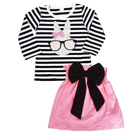 Bunny Glasses Outfit Long Sleeve Black Stripe Top And Skirt