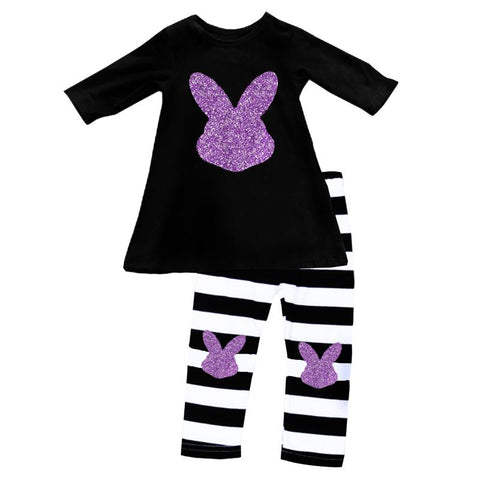 Bunny Outfit Purple Sparkle Black Stripe Top And Pants