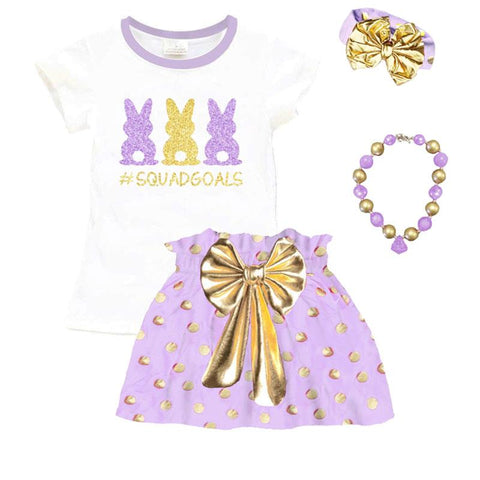 Bunny Squad Goals Outfit Lavender Gold Polka Dot Top And Skirt