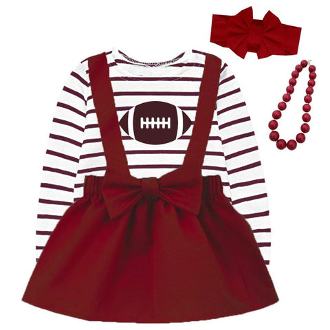 Burgandy Football Jumper And Brown Stripe Top