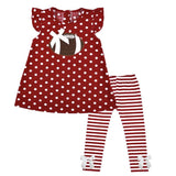 Burgandy Football Outfit Polka Dot Stripe Top And Pants