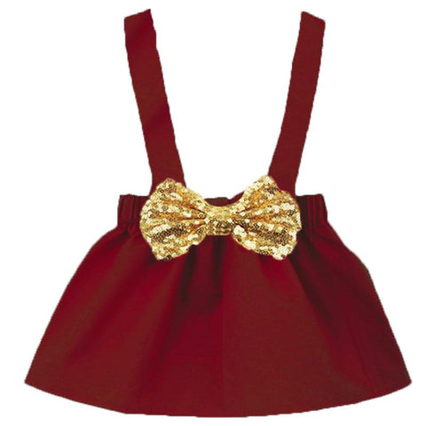 Burgandy Jumper Gold Sequin Bow