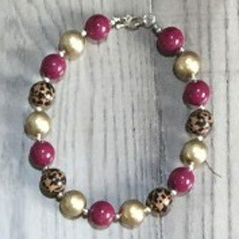 Burgandy Leopard Necklace Chunky Gumball