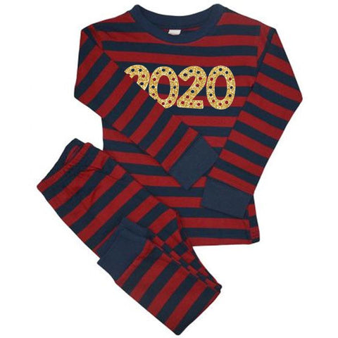 Burgandy Navy Stripe 2020 Pajamas