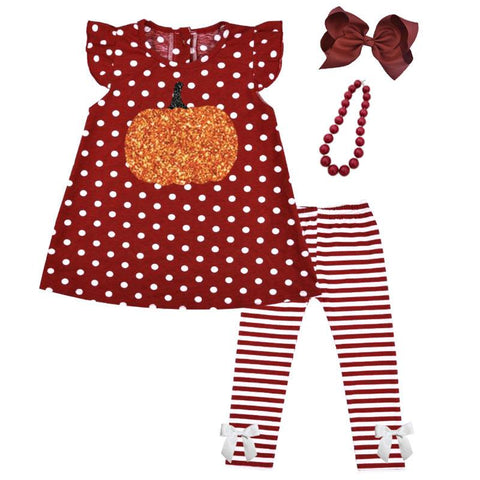 Burgandy Pumpkin Stripe Outfit Polka Dot Top And Pants