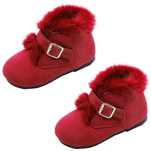 Burgandy Red Fur Boots Buckle Shoes