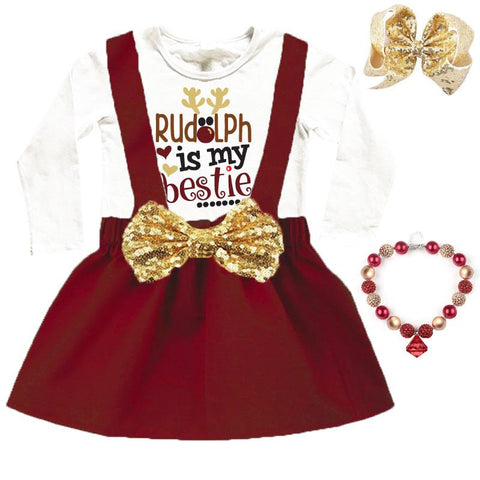 Burgandy Rudolph Bestie Outfit Gold Sequin Bow Top And Jumper