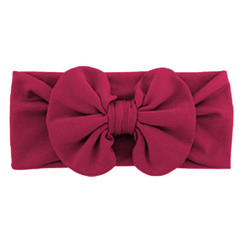 Burgandy Ruffle Bow Headband
