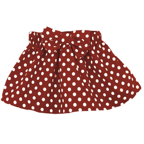 Burgandy Skirt Polka Dot Bow