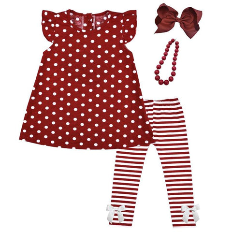 Burgandy Stripe Outfit Polka Dot Top And Pants