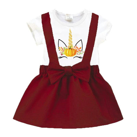Burgandy Unicorn Outfit White Top And Jumper