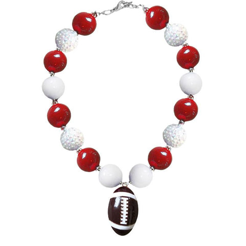 Burgandy White Football Necklace Chunky Gumball