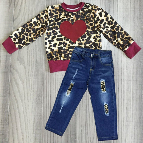 Burgundy Leopard Heart Valentines Top And Jeans