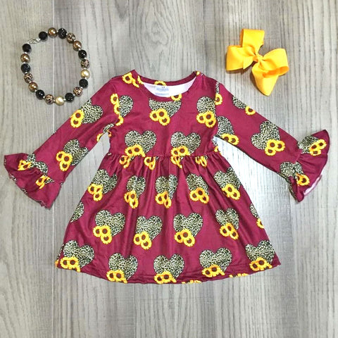 Burgundy Sunflower Leopard Heart Dress Necklace And Bow Set