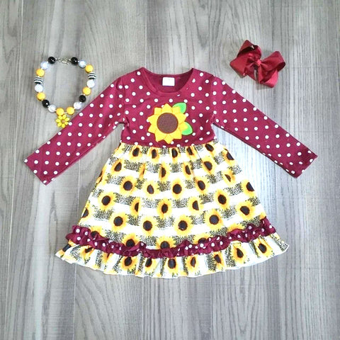 Burgundy Sunflower Polka Ruffle Dress Necklace And Hair Bow Set