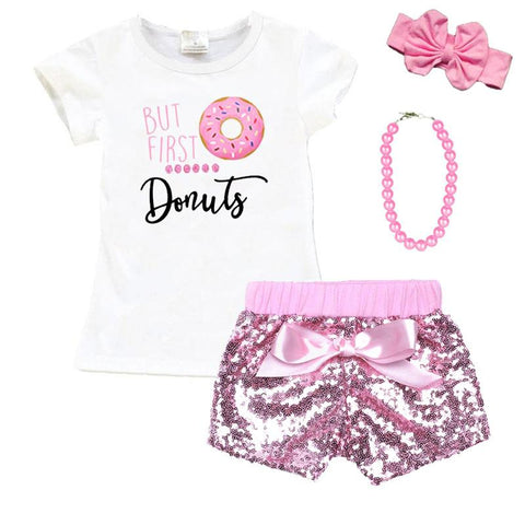 But First Donuts Outfit Pink Sequin Top And Shorts